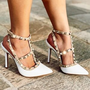 NEW🔥Pointy Toe Stud T-Strap Stiletto Heel Sandal